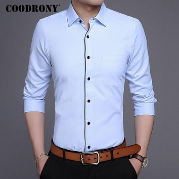 New Arrival Business Casual Shirt Men Famous Clothing Pure Cotton Shirts Slim Fit Long Sleeve Top
