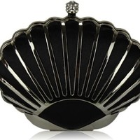 Exquisite Shell Shape Black Metal Crystal Clasp Prom Party Evening Clutch Bag (22cm x 12cm) with PreciousBags Dust Bag