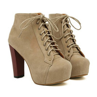Camel Colored Ankle Boots With Increased Internal Design
