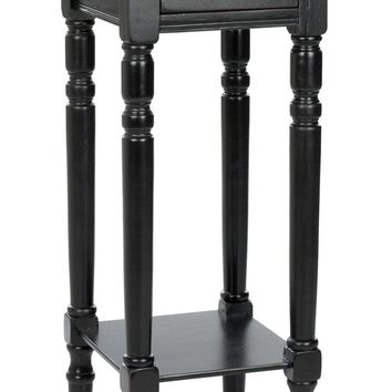 Sabrina End Table With Storage Drawer Distressed Black