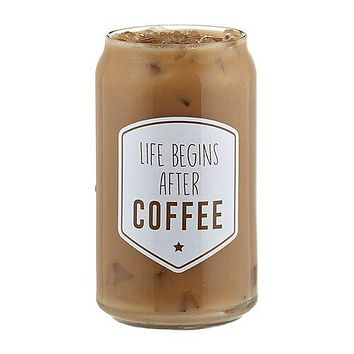 Life Begins After Coffee Iced Coffee Glass