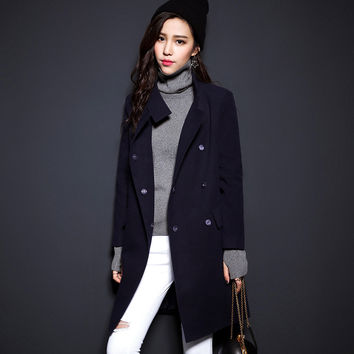 Black Long-Sleeve Stand-Collar Coat