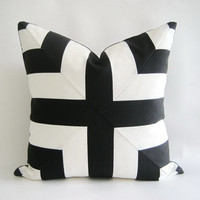 Mitered Black White Stripes Pillow Cover Indoor Outdoor