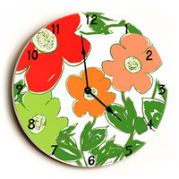 Flower Print Unique Wall Clock by Artist Lisa Weedn