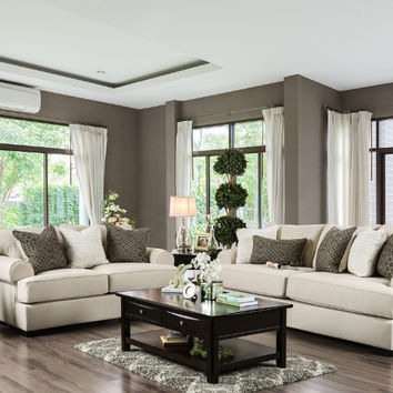 Furniture of america SM1272 2 pc gilda beige premium fabric sofa and love seat with goose feather blend pillows
