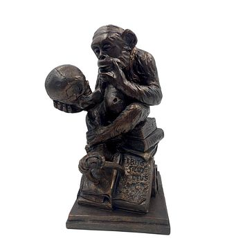 Monkey Holding Skull Sitting on Pile of Books Statue by Rheinhold 8H