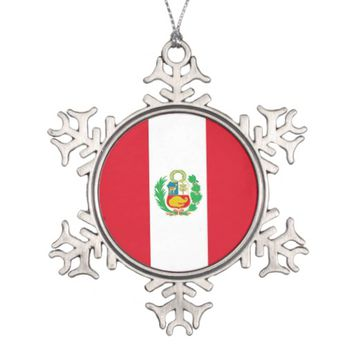 Snowflake Ornament with Peru Flag