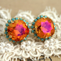 Crystal stud turquoise orange big pink earring - 14 k plated gold post earrings real swarovski rhinestones .