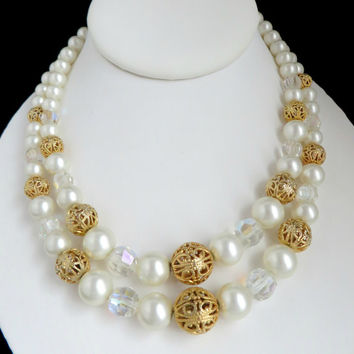 Vintage Kramer Faux Pearl Double Strand Beaded Necklace