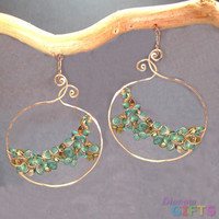 "Large hammered swirl drops wrapped with turquoise, green garnet, and green tourmaline inside, 2-1/2"" Earring Gold Or Silver"