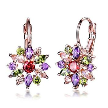 GULICX Colored Hoop Earrings Rose Gold Tone Flower Marquise Round Cluster Multicolor Cubic zirconia