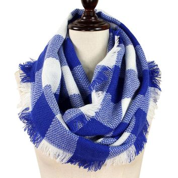 Blue and White Buffalo Plaid Woven Infinity Scarf