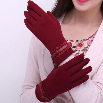 Women Winter Gloves Solid Lace Cotton Gloves  Wrist Gloves&Mittens Female Lady Girls Gloves