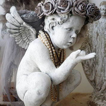 Cherub angel statue with gray rose crown French farmhouse angelic lg wings figure embellished ornate French Nordic decor anita spero design