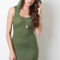 Rib Knit Hooded Scoop Neck Sleeveless Dress