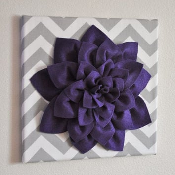 "MOTHERS DAY SALE Wall Flower -Deep Purple Dahlia on Gray and White Chevron 12 x12"" Canvas Wall Art- Baby Nursery Wall Decor-"