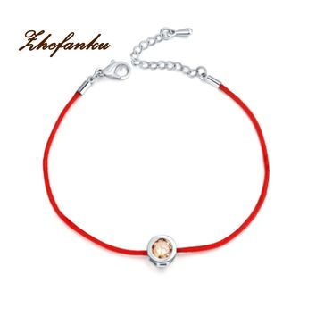 Fashion Red String Rope Bracelet Small Cublic Zirconia Bracelets For Women Handmade Crystal Jewelry Lovers Couples