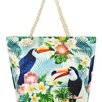 Colorful Tropical Floral Toucan Print Vegan Shoulder Tote Bag Purse - 2 Prints