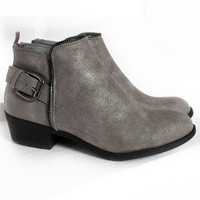 Leo Zipper Booties | Metallic Grey
