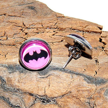 Batgirl Pink Logo icon earrings, superhero batgirl Logo earrings, Batgirl simbol patch, Batgirl earrings, Batgirl emblem comics earrings