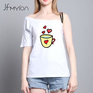 Fresh Sexy White Cute Summer Women T-shirt Short Sleeve Off Shoulder Slash Neck Coffee Cup Red Heart Print Backless Shirt Tops