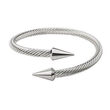 Monobijoux Bold Arrow Cone Cable Bangle Silver Plated Cuff Bracelet