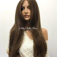Brown Brunette Thick Human Hair Blend Lace Front Wig -  Sena 610171 ON SALE