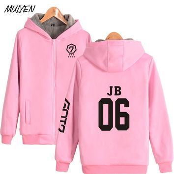 MULYEN Autumn Winter Warm Thick Got7 Kpop Jacket Member Name Print Fleece Sweatshirt Fans Supportive Zipper Tracksuit