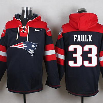 New England Patriots #33 Kevin Faulk Navy Blue Pullover Hoodie