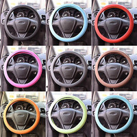Practical Faux Leather Texture Silicone Steering Wheel Glove Cover For Car Auto