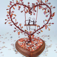 Wire Heart  Tree In Fall- Wedding Cake Topper, Bridal Shower Gift, Wedding Table Centerpiece, Anniversary, Engagement - Made to order