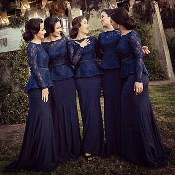 Elegant Dark Navy Blue Mermaid Bridesmaid Dresses Long Lace Bridesmaid Dress Women Long Sleeve Bridesmaid Dress For Wedding B23