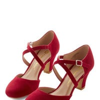 ModCloth Memorable Moves Heel in Rouge