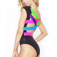 Quontum Neon Strap Back Bodysuit with Backless Detail