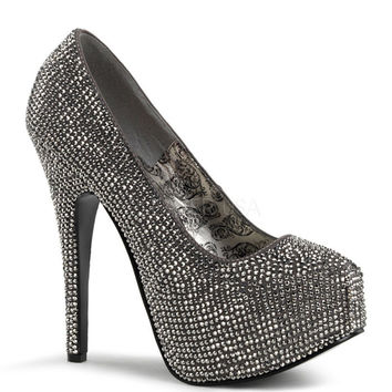 Bordello Teeze Gray Iridescent Rhinestone Platform Pump