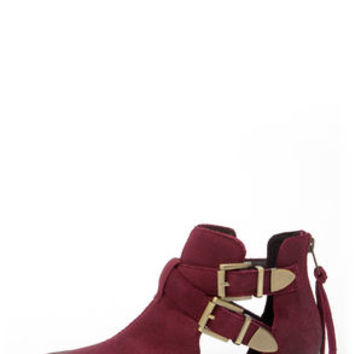 Steve Madden Cinch Burgundy Suede Leather Cutout Ankle Boots