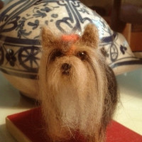 Needle felting dog yorkie miniature yorkshire OOAK