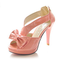 Intionix Shop Patent Leather Stiletto Heel Sandals / Peep Toe With Bowknot Party Evening Shoes (More Colors Available)