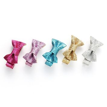 Baby Girls Shiny Bow Tie Hair Bows Clips Barrettes for kids Toddlers Children