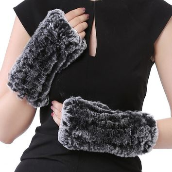 Valpeak Real Rex Rabbit Fur Gloves Women Fur Mittens Winter Warm Bunny Fur Gloves Fingerless Ladies Winter Rabbit Fur Mittens