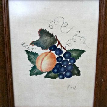 Small Vintage Theorem or Painting Stenciling on Velvet Grapes Peach Leaves