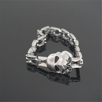 Hot Movie Star Wars Silver Alloy Bracelet Stormtrooper Mask Metal Bangle Cosplay Jewelry