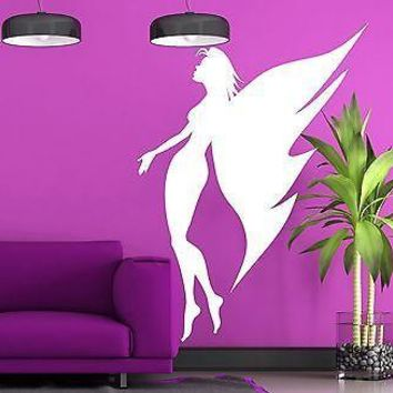 Wall Sticker Vinyl Decal Sexy Angel Girl Butterfly Wings Slim Figure Unique Gift (n069)