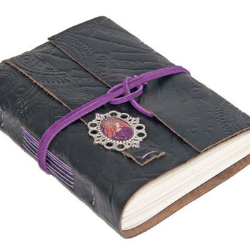 Embossed Black Leather Journal with Lined Paper and Cameo Bookmark