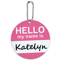 Katelyn Hello My Name Is Round ID Card Luggage Tag