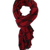 Oversized Plaid Wrap Scarf by Charlotte Russe - Red Combo
