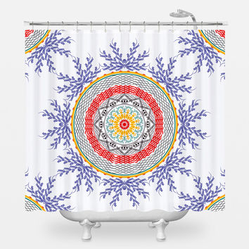 Red Indigo Floral Shower Curtain
