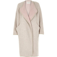 River Island Womens Beige check relaxed fit longline blanket coat
