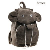 Fashion Brown Elephant Canvas Backpack