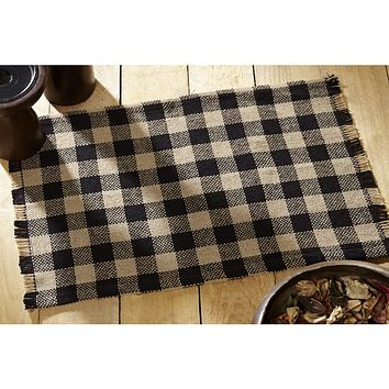 Burlap Black Check Placemats